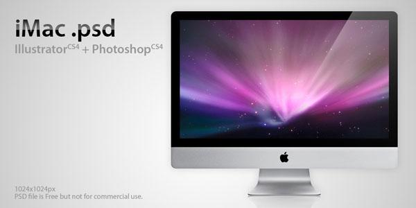 iPhone、iPadやMacなどのディスプレイを集めたPhotoshop(フォトショップ)端末ディスプレイPSD無料素材集-iMac