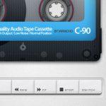 懐かしいカセットテープ型のミュージックプレーヤー「Old School Cassette Player with HTML5 Audio 」