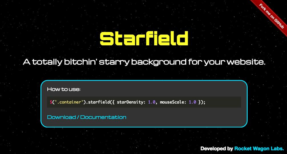 星空を背景にするjQueryプラグイン「jQuery Starfield background plugin」